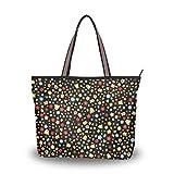 LORONA - Bolso de mano de lona con diseño de margaritas multicolor y flores para mujer