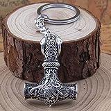 British Keychains Porte-clés Double Face Mjolnir Le Marteau de Thor Viking Dragon Rune Nordique avec Pochette Cadeau