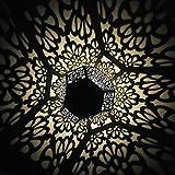 ToDIDAF Wasserdichte Solarleuchten für Außen LED Solarleuchte Garten Silber Eisen Hängelampe Hohlprojektionslicht Landschaftslampe Wegeleuchten Außenbeleuchtung für Garten Hof Rasen...