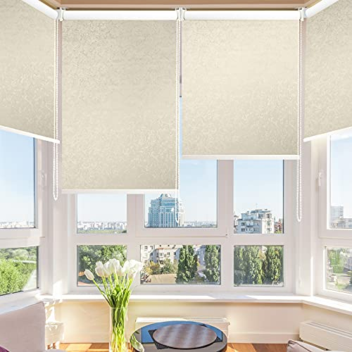 SHUNJIN 100% Blackout Roller Shade - Thermal Insulated Waterproof UV Protection Jacquard Coating Cracked Ice Pattern Roller Blind with Crod for Window Easy to Install(36''W X 72''L , White)