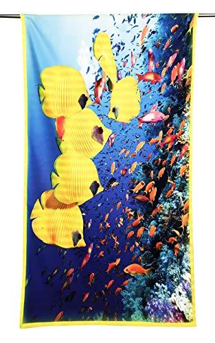 Tex family Toalla de playa de rizo con peces tropicales, tamaño grande, 90 x 170 cm