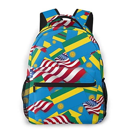 Lawenp Rwanda Flag with America Flag Travel Laptop Backpack Business Anti Theft Slim Durable Laptops Backpack Water Resistant College School Computer Bag for Women & Men Fits 15.6 Inch Notebook