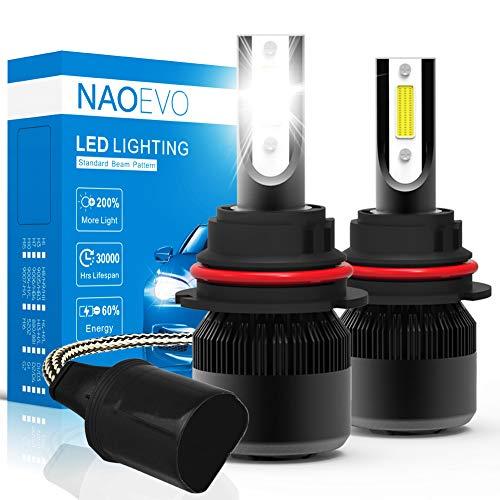 9004 HB1 (Hi/Low) LED Headlight Bulbs, 60W 6400Lumens 6500K Cool White Super Bright, NAO Adjustable Beam Conversion Kit