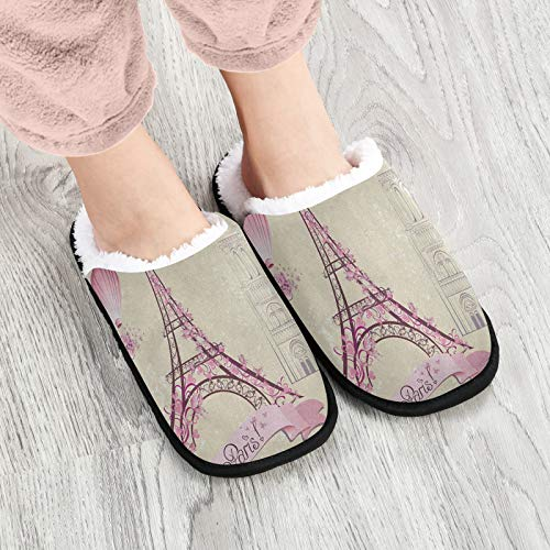 Plush Travel Slippers for Woman and Man Warm Terry Cloth Slippers Washable Slippers for Guests Fall Winter Spring Bedroom Shoes Eiffel Tower Balloon Lovers