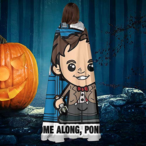 AISFGBJ Lil Doc Doctor Who Matt Smith Come Through Pond Tardis Unisex Navidad Halloween Bruja Caballero con Capucha, Capa de Vampiros, Capa de Disfraz Cosplay