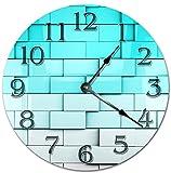 DKISEE PT767 - Orologio da parete con mattoni sfumati da bianco a blu, silenzioso, in legno, decorativo, rotondo, per casa, ufficio, scuola, arredamento, 30 cm