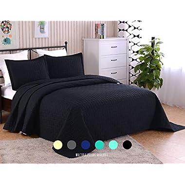 Luxe Bedding 3-piece Oversized Quilted Bedspread Coverlet Set (Full/Queen, Black)