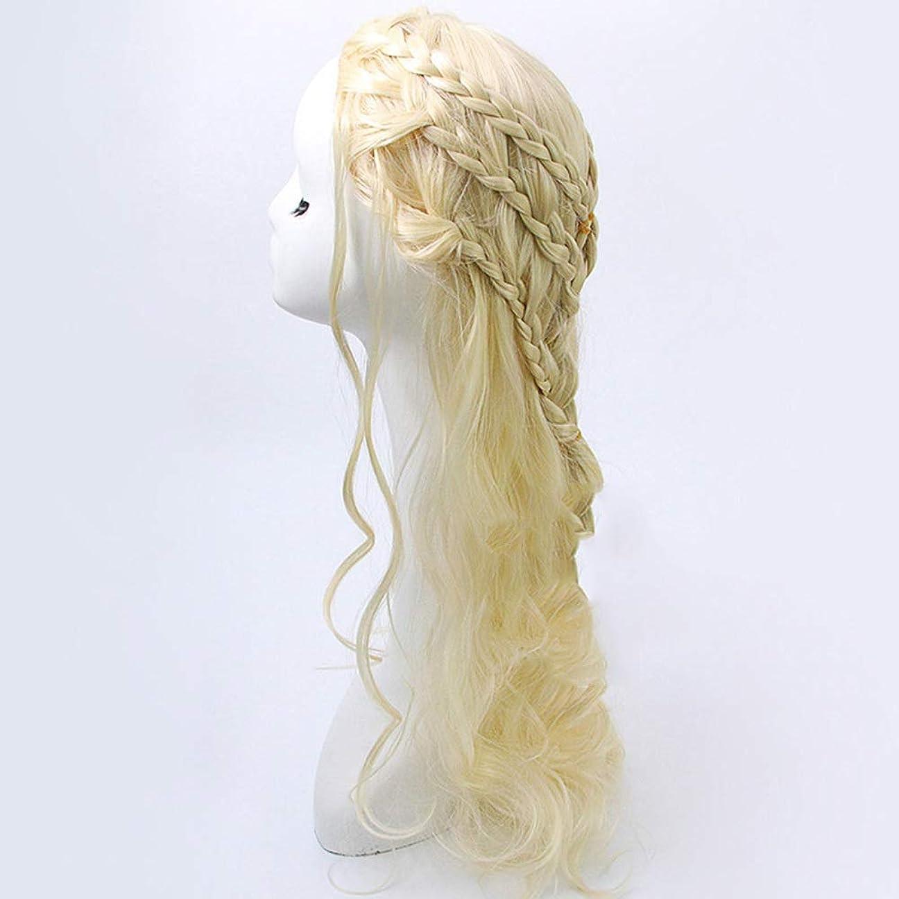 爬虫類ボトルネック涙WASAIO ブロンドのかつらライト前髪自然に見える長い巻き毛のかつら65 cm (色 : Blonde)