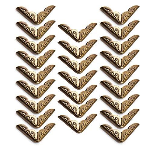 YFaith 25 piezas Esquinas de Libro de Metal, Esquineras Scrapbooking, Esquina de lbum, Retro Metal Protector de Esquinas, para Menús, Cuadernos, Carpetas (Bronce)