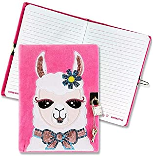 Emotionery Girls Llama Pink Soft Feel Furry Secret Diary, with Jewel Embedded Lock and Key, 128 Pages