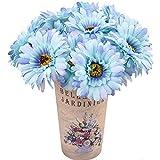 15 Piezas de Flores de Margaritas de Seda Artificial Flores de Gerbera Falsas Ramo de Novia para el Banquete de Boda en casa decoración de Centro de Mesa DIY (Azul)