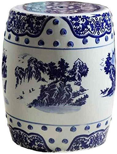 Blauw-wit tuinkruk, handgeschilderde antieke Chinese dressing-banken ronde meubels balkon binnenplaats paviljoen zitbank