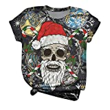 YIWULA Plus Size Women Short Sleeve 3D Christmas Printed Oneck Tops Tee T-Shirt Blouse