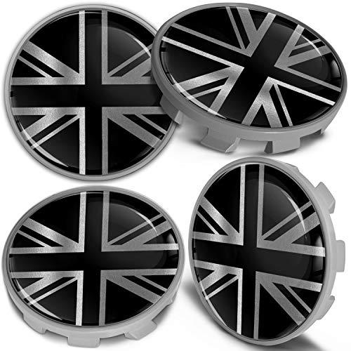 Biomar Labs 4 x 68mm Tapas de Rueda de Centro Tapacubos Centrales Llantas Aluminio se Compatible con BMW Part. No. 36136783536 Bandera del Reino Unido UK Union Jack para Coche CBS 1