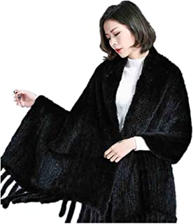 Women Knitted Mink Fur Shawl Wrap with Tassels Plus Size with Pocket