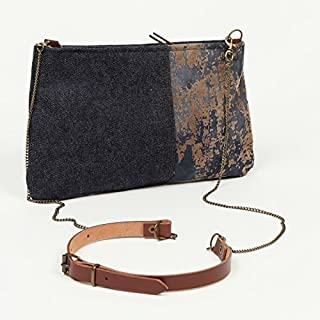 Mini bolso cruzado vaquero para mujer - Bandolera pequeña - Cadena y piel - Bolso de