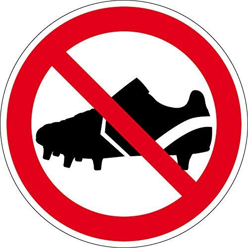 Verbotszeichen - Betreten mit Fußballschuhen verboten - Aluminium Selbstklebend - Ø 20 cm