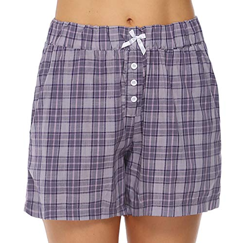 Hawiton Damen Schlafanzughose Karierte Pyjama Hose Nachtwäsche aus Baumwolle, Violett, Gr.- L