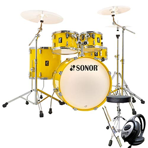 Sonor AQ1 Stage Set Drum Kit Lite Yellow + Keepdrum Accessories