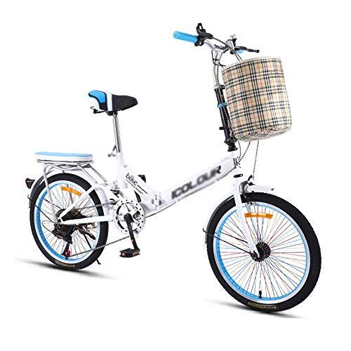 Bicicleta, Bicicleta de Choque PortáTil de 20 Pulgadas, Bicicleta de Viaje Diario de 6 Velocidades, Marco Plegable de Acero de Alto Carbono, Freno Doble, para Trabajadores de Oficina/Estudiante