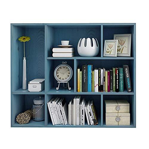 HXiaDyG boekenkast, 3 lagen, 8 roosters, open kubusrek, onafhankelijk boekenrek, vitrinekast, blauw, gemakkelijk te reinigen en vuilafstotend