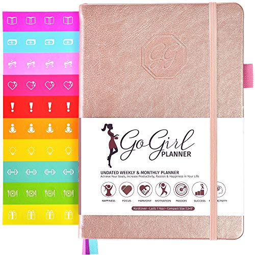 GoGirl Planner and Organizer for Women - Pocket Size Weekly Planner, Goals Journal & Agenda to Improve Time Management, Productivity & Live Happier. Undated - Start Anytime, Lasts 1 Year - Rose Gold