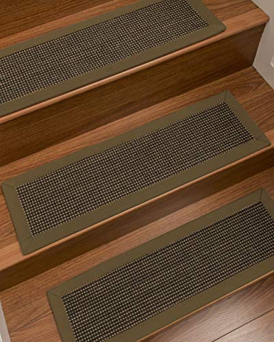 """Natural Area Rugs Malt/Brown Chateau DIY Pet Friendly Handmade Sisal Carpet Stair Treads/Rugs Safety Slip Resistant for Kids, Elders, and Dogs. 9"""" x 29"""" (13), Malt Border"""