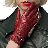 EL LEGANT Genuine Leather gloves women Touchscreen Winter sheepskin gloves warm Velvet Lined - Red - Medium