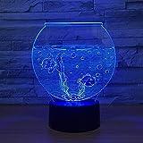 Lámpara de ilusión 3D Luz de noche LED Forma de acuario 7 colores Atmósfera Lámpara de mesa Sala de estar en casa Mesa de comedor Mesa Atmósfera Decoración Vacaciones