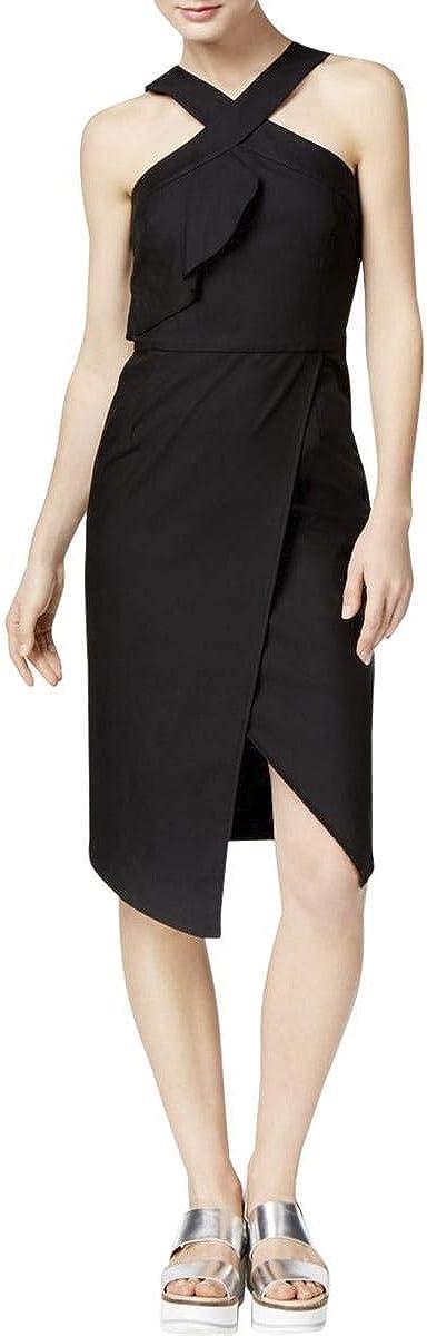 RACHEL Rachel Roy Womens Ruffled Tulip Hem Cocktail Dress Black