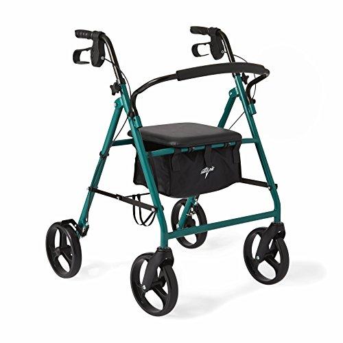 Medline Standard Steel Folding Rollator Adult Walker with 8 inch Wheels, Green