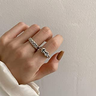 Aimimier Gothic S925 Knuckle Rings Set 2Pcs Twist Rope Finger Ring Half Open Midi Ring for Women or Men