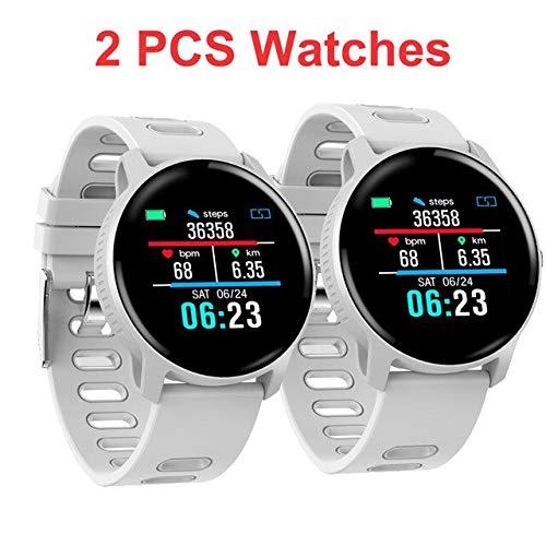 Herren Smart Watch Fitness Tracker IP68 Wasserdicht Smart Watch Pulsmesser Schrittzähler Frauen Uhr,2ST Weiß