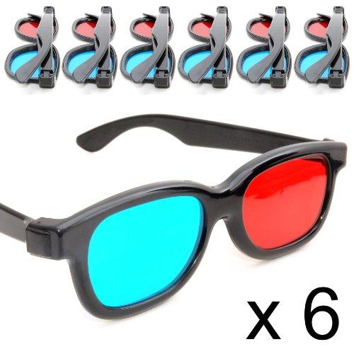 Genzoo - Lote de gafas para 3D, 6 unidades, color azul y rojo