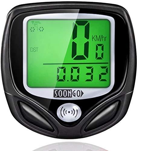 SOON GO Bike Speedometer, Bicycle Speedometer Wireless Cycle Bike Computer Waterproof Bike Odometer with LCD Display Speedometer Accurate Speed Tracking & Multi-Function