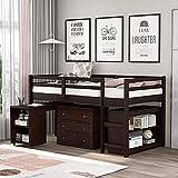 MWKL La más Nueva Cama Tipo Loft con gabinete, Escritorio portátil con Ruedas y estantería, Camas Tipo Loft de Estudio para niños y Adolescentes