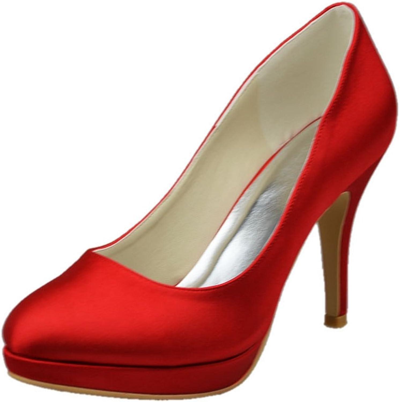 Minishion Womens Stiletto Heel Closed Toe Satin Evening Party Bridal Wedding shoes