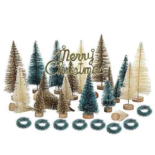Pannow 24 Pezzi in Miniatura Pennello Bottiglia Alberi Mini sisal Neve Gelo Alberi di Natale Alberi da Tavolo Ornamenti di Neve per la Festa di Natale
