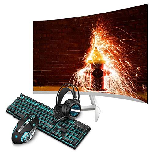 Monitor Gaming de 24 pulgadas, monitor Gaming 2800R Curvo, 1080p, monitor 75Hz 1MS frecuencia de actualización, panel IPS, monitor de ordenador con kit de ratón y teclado USB luminosos