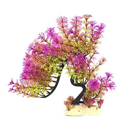 GRASARY Flores de plástico para acuario, coloridas y de dragón, para decoración de acuario, para dar vida llena de vitalidad, buenos recuerdos, color morado