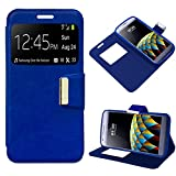 Mb Accesorios Funda Tapa Libro Azul para LG X CAM - Interior. Silicona