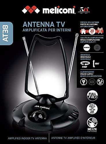 Meliconi AT 38 - Antenne TV Intérieure Amplifiée 38 DB