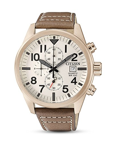 Citizen Herren Chronograph Quarz Uhr mit Leder Armband AN3623-02A