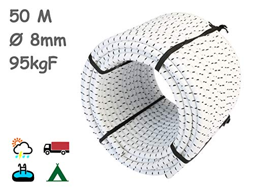MAGMA Cuerda Elastica 8mm. Monotex Polietileno. Piscinas (Standard NF P 90-308) Toldos Acampadas Exteriores Manualidades Nautica Amarres Escalada Resistente al Agua (50m, Blanco Chiné)
