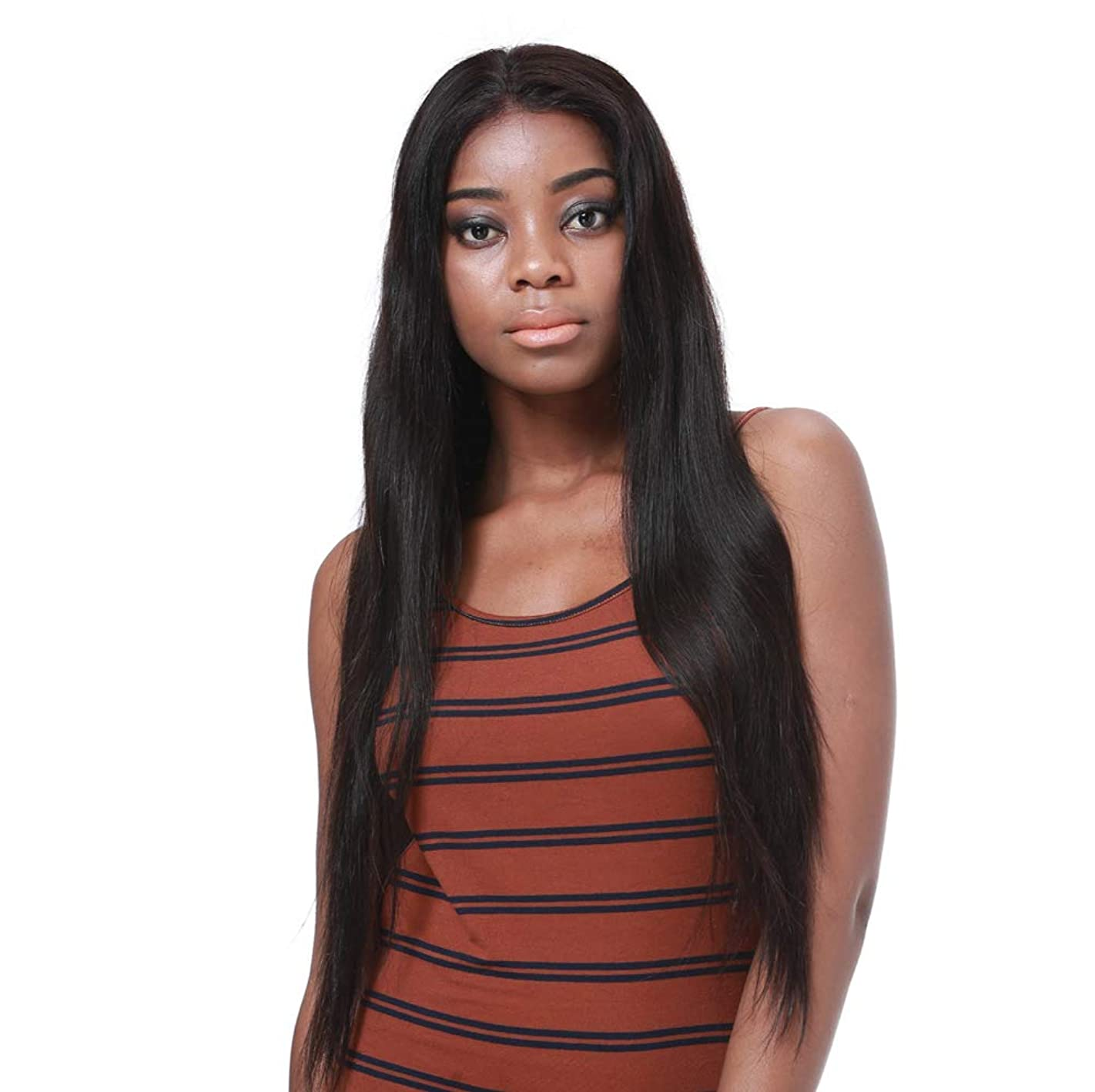 王女狂信者ジャンク合成耐熱天然高品質かつらのためのフロントレースかつら女性の長いストレートの髪