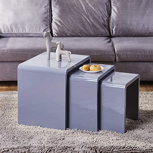 GOLDFAN Grey Gloss Nest of 3 Tables Nesting Coffee Side Tables Wooden Multi-functional Set of 3 CoffeeTables for Home Living Room Office