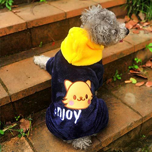 犬の服 ロンパース つなぎ カバーオール もこもこ 暖かい ペット用品 DOG服 犬服 犬用防寒着 ペット服 かわいい ネコちゃん (XXS)