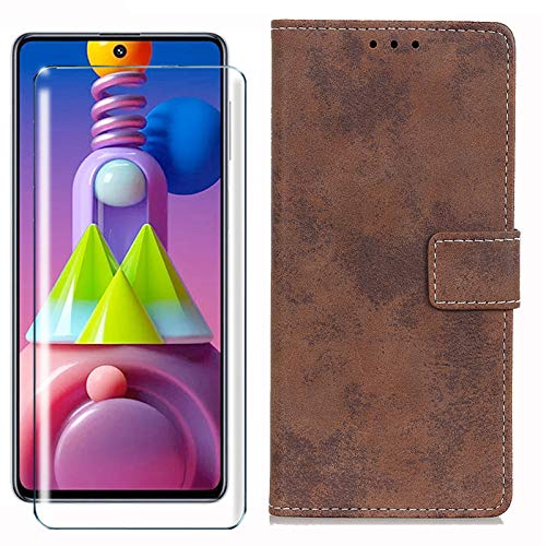 HYMY Cover per Nokia 3.2 + Vetro Temperato - Marrone Stile retrò Elegante PU + TPU Silicone Pelle Multifunzione Wallet Slot Custodia Flip Stile Vintage Caso per Nokia 3.2 2019 (6.26')