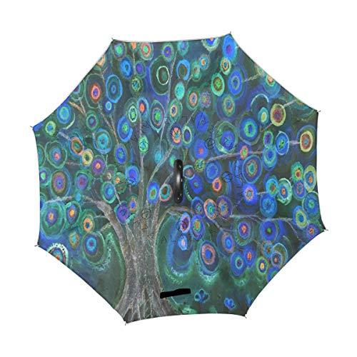 Wamika Lollipops - Paraguas invertido de Doble Capa, Resistente al Viento, protección UV, no automático, Grande, Recto, Boca Abajo, Mango en Forma de C para la Lluvia del Coche