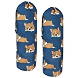 Dog Grocery Bag Holders Set of 2 Large Capacity Hold up 50 Plastic Sack Organizer w Hanging Loop Durable Shopping Bag Storage Dispensers for Garbage Bags with Drawstring Navy Blue Cute Animal Design